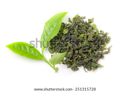 Heap of dry tea with fresh green tea leaves isolated white background. real Chinese tea bushes - stock photo