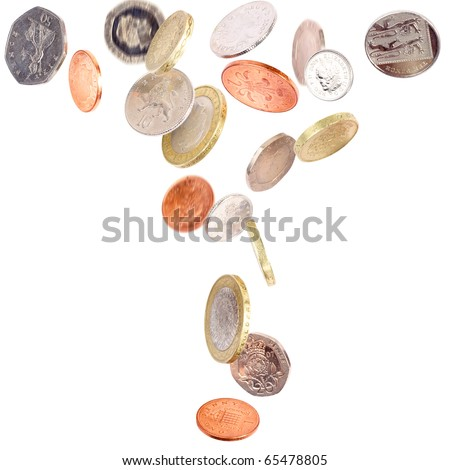 Heap of falling british coins isolated on white - stock photo