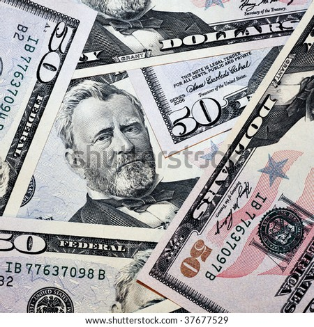 heap of fifty dollars in square composition - stock photo
