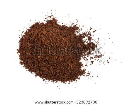 Heap of fine grinding coffee powder isolated on the white background
