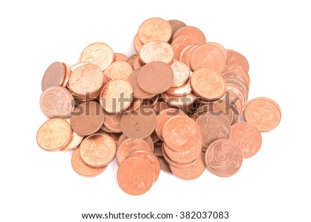 Heap of five cents copper coins of the South African currency Rand. Image isolated on white studio background.