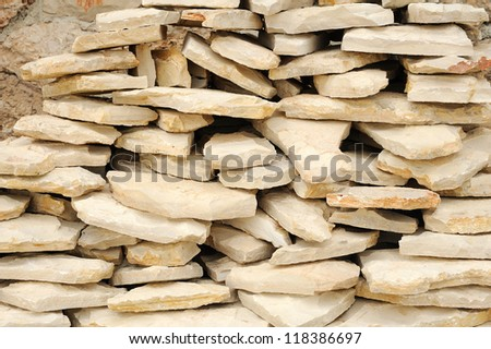Heap of flat paving stones, limestone