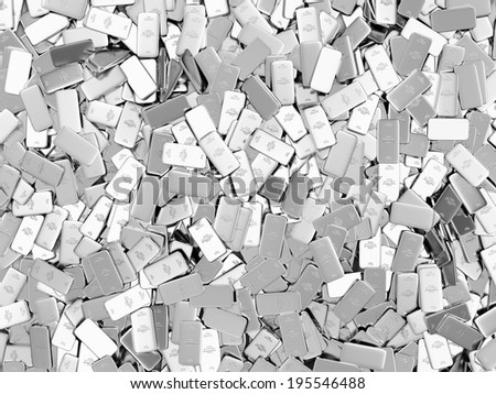 Heap of Flat Silver Bars Abstract Background - stock photo