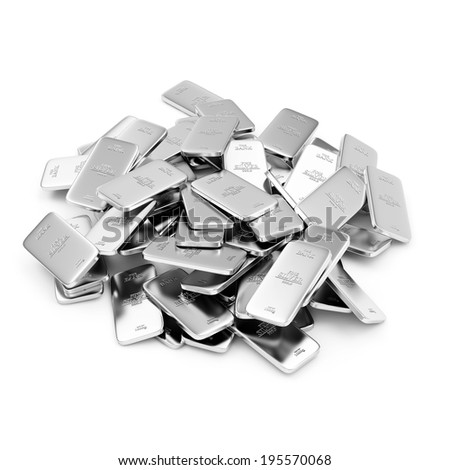 Heap of Flat Silver Bars isolated on white background - stock photo