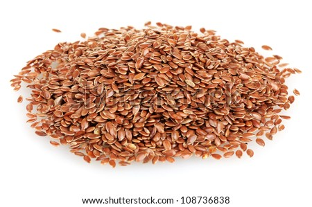 heap of flax seeds isolated on white background - stock photo