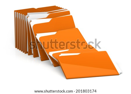 Heap of folders and files - isolated on white background 3d rendering - stock photo