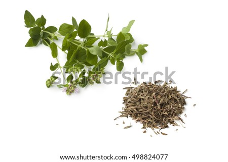 Heap of fresh and dried Moroccan zathar on white background