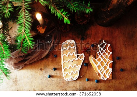 Heap of fresh appetizing oatmeal cookies on wooden background. Crunchy fresh biscuits. Many shortcake cookies. Mixed Christmas cookies. Colorful mix of Christmas-themed decorated cookies.   - stock photo