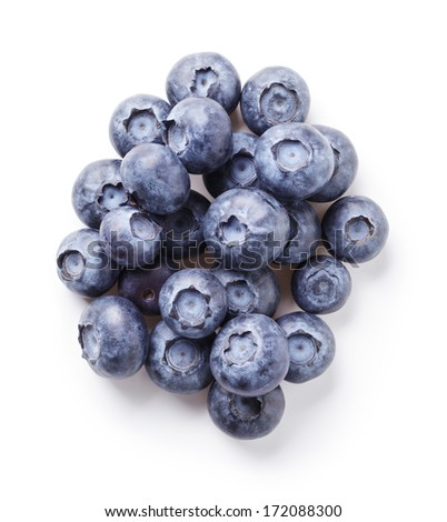 heap of fresh blueberries, isolated on white background - stock photo