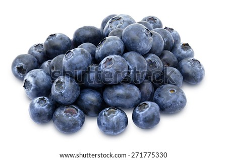Heap of fresh blueberries isolated on white background - stock photo
