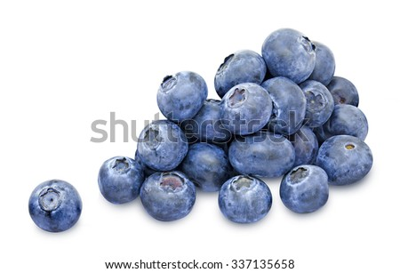 Heap of fresh blueberry berries without leaves isolated on white background. Design element for product label, catalog print, web use. - stock photo