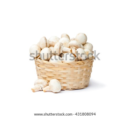 heap  of fresh mushroom champignons in a basket isolated on white background  - stock photo