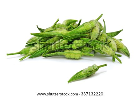 Heap of fresh rapeseed beans isolated on white background. Design element for product label, catalog print, web use. - stock photo