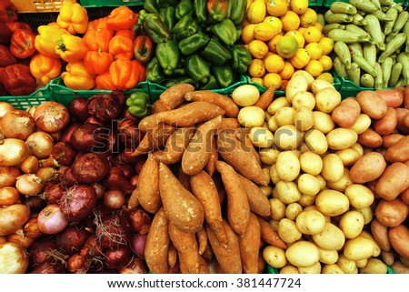 heap of fresh raw vegetables on market