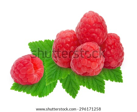 Heap of fresh ripe raspberry berries with leaves isolated on white background. Design element for product label, catalog print, web use.