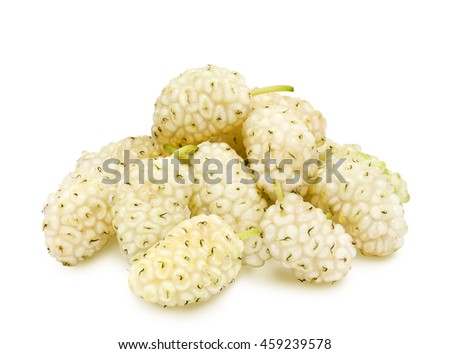Heap of fresh ripe white mulberry berries isolated on white background. Design element for product label, catalog print, web use. - stock photo