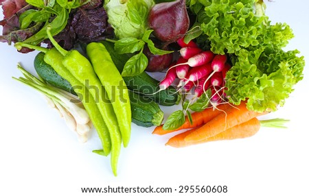 Heap of fresh vegetables close up - stock photo