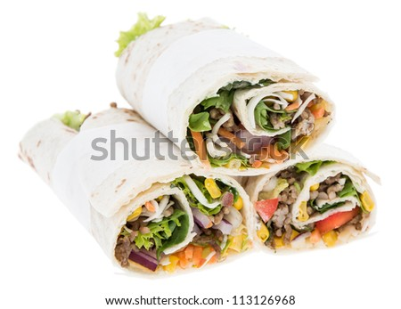 Heap of fresh Wraps isolated on white background