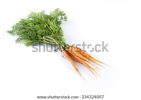 heap of freshly picked carrots isolated on white