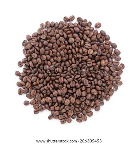 heap of freshly roasted arabica coffee beans, isolated
