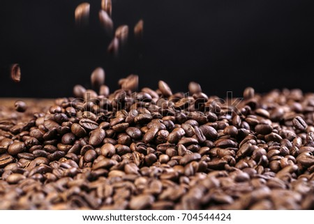 Heap of freshly roasted coffe beans for making turkish mocha or espresso