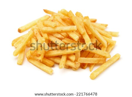 Heap of fried potato chip sticks isolated on white - stock photo