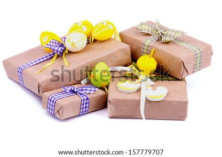 Easter gift stock images royalty free images vectors shutterstock heap of gift boxes in wrapping paper with checkered ribbons decorative chickens and easter eggs negle Gallery