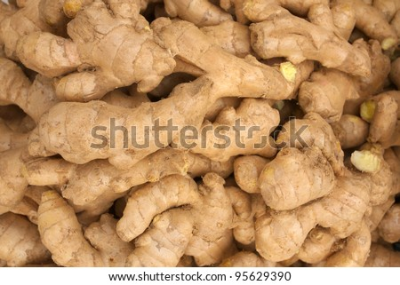 heap of ginger root - stock photo