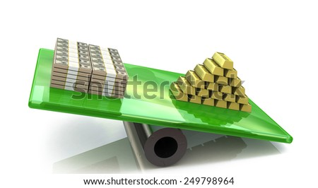 Heap of gold bars on a scale with dollars  - stock photo