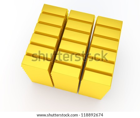 heap of gold bars on white background - stock photo