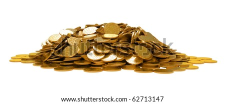 Heap of golden coins isolated over white - stock photo