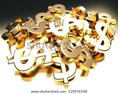 Heap of golden dollar signs. 3d render illustration - stock photo