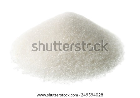 Heap of granulated sugar isolated on white - stock photo
