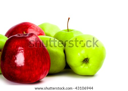 heap of green and red apples closeup
