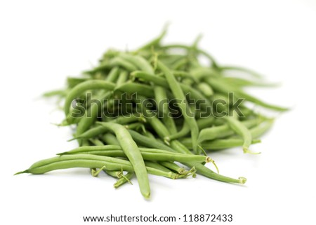 heap of green beans isolated on white background