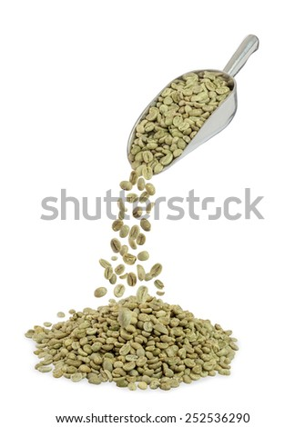 heap of green coffee beans and metal scoop isolated on white - stock photo