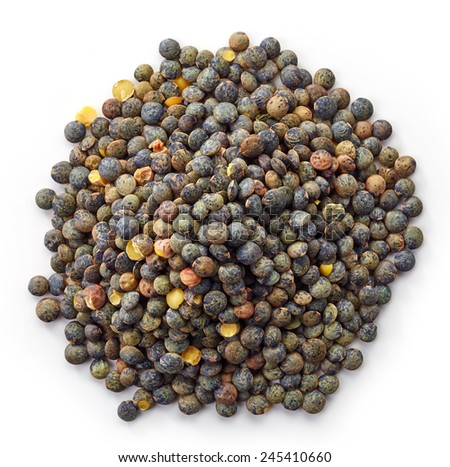 Heap of green lentils isolated on white background - stock photo