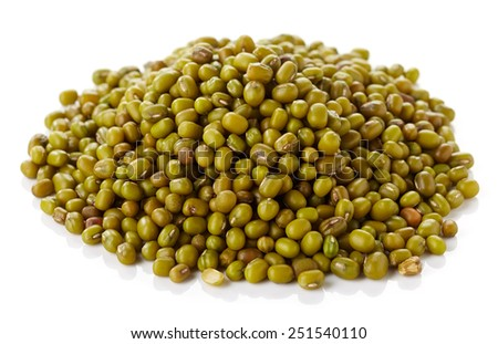 Heap of green mung beans isolated on white background - stock photo