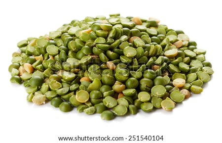 Heap of green split peas isolated on white background - stock photo