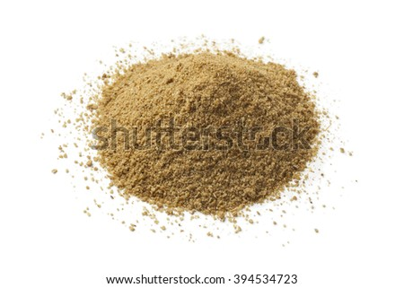 Heap of ground cumin seeds on white background