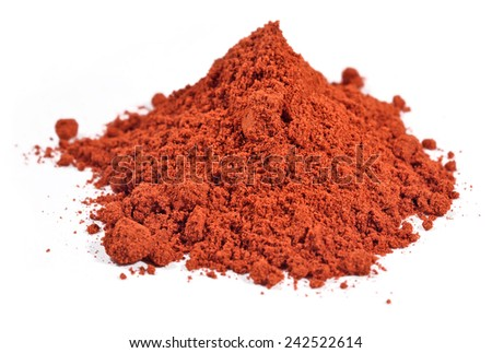 Heap of ground paprika on a white background