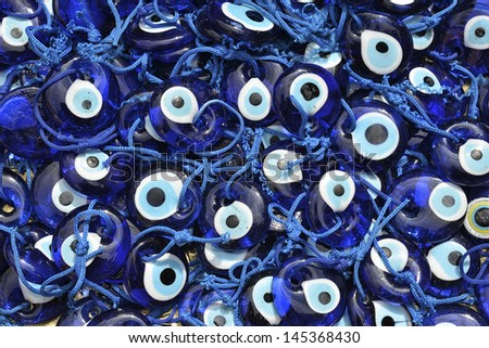 Heap Of Handmade Evileye Beads on Turkish Bazaar (Nazar Pendants)