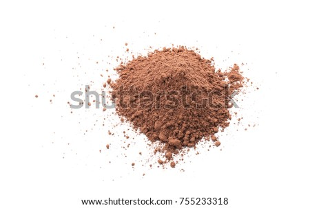 Heap of healthy cocoa powder on white background