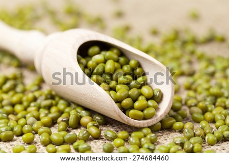Heap of healthy uncooked organic mung beans vegetarian super foods in wooden spoon on vintage textile background - stock photo