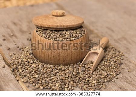 Heap of hemp seeds - stock photo