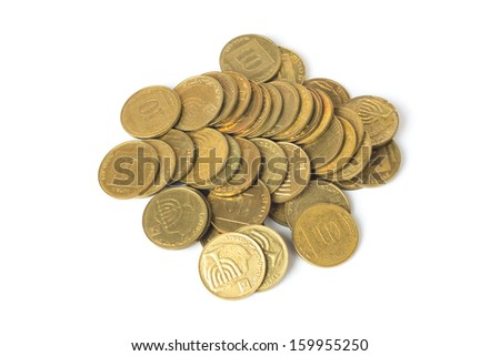 Heap of israeli coins ten agorot isolated on white background - stock photo
