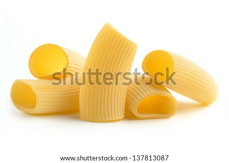 heap of italian pasta isolated on white background