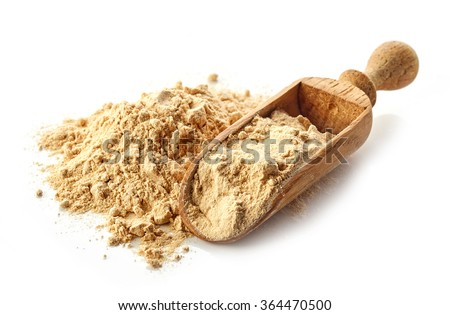 heap of maca powder isolated on white background - stock photo