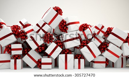 Heap of many christmas or birthday gift boxes (3D Rendering) - stock photo