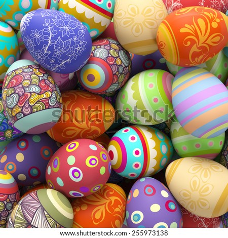 Heap of many different colorful easter eggs (3D Rendering) - stock photo